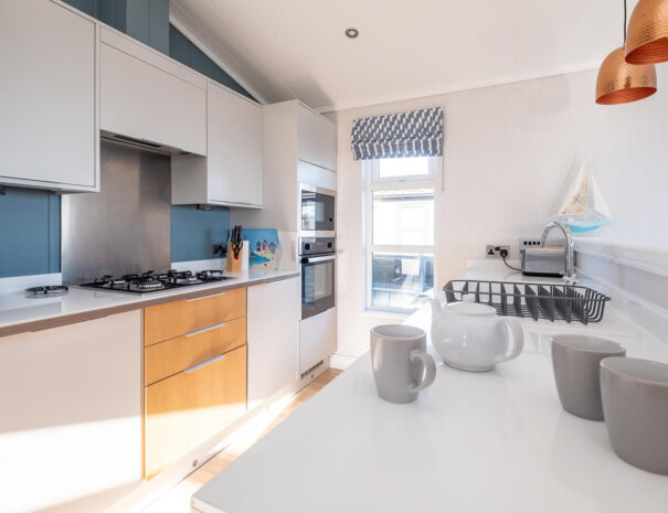 Modern kitchen in SeaBreeze self-catering rental Suffolk